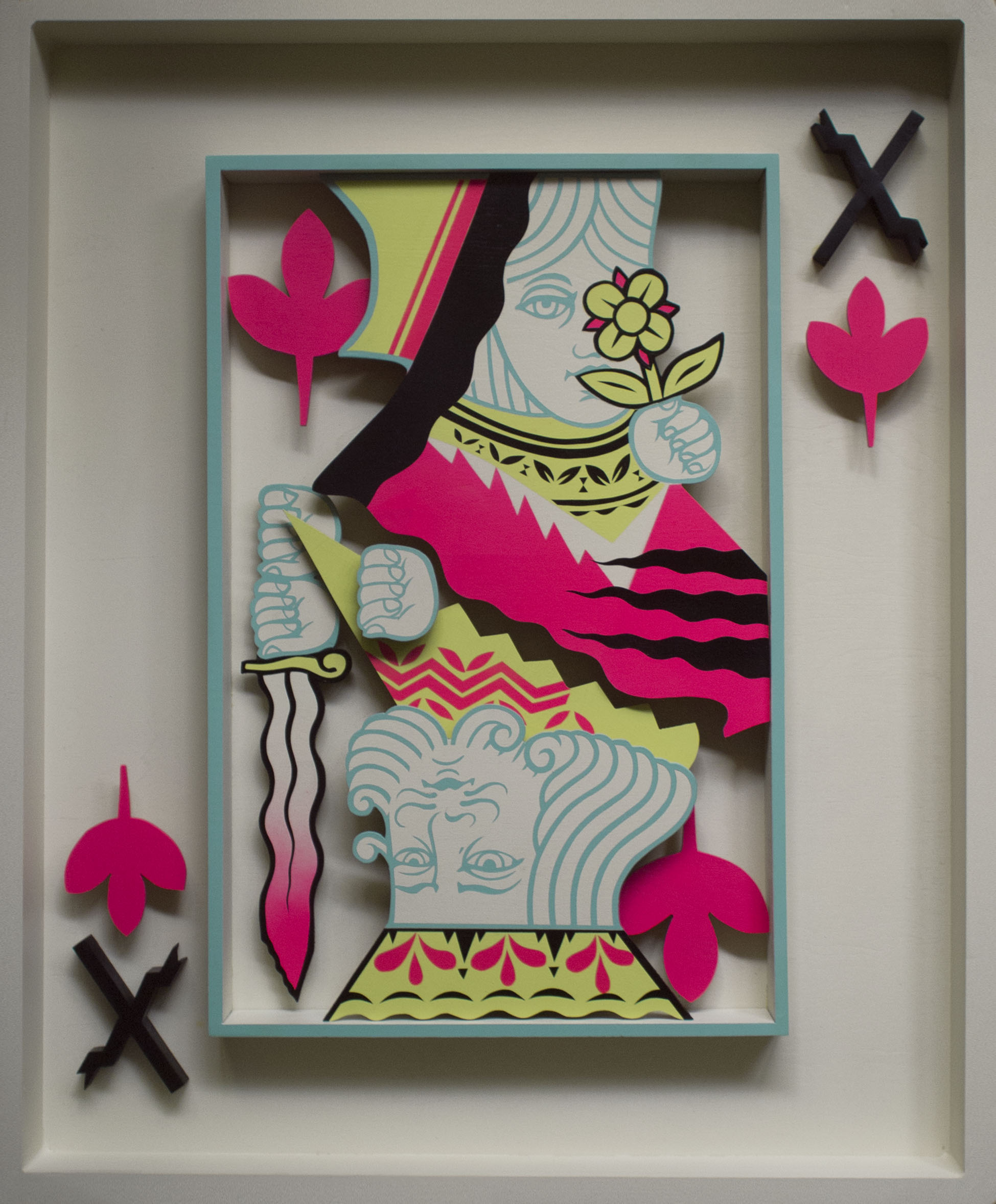 Playful , 2014 [private collection CT, USA] Wood, Acrylic, Spray Paint 28 x 36 in.