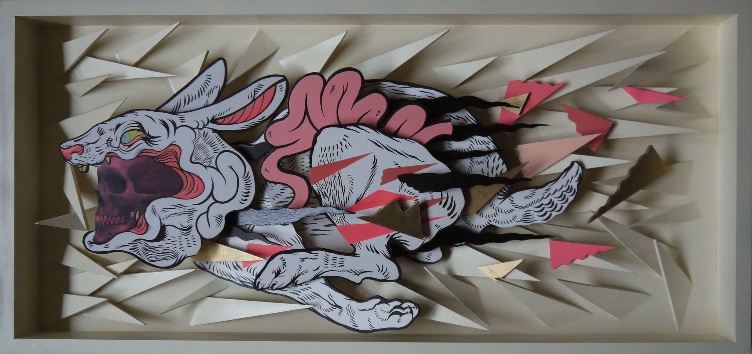 Reaper Rabbit , 2014 [private collection Brooklyn, NY] Wood, Acrylic, Spray Paint, and Ink Transfer 17 x 36 in.