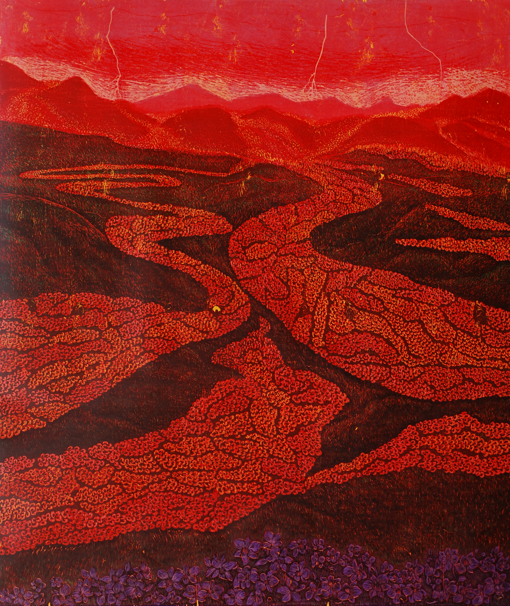 Flooded Flow and Silent Torso 3,  2014   Woodcut, edition of 3   44 x 52 in.