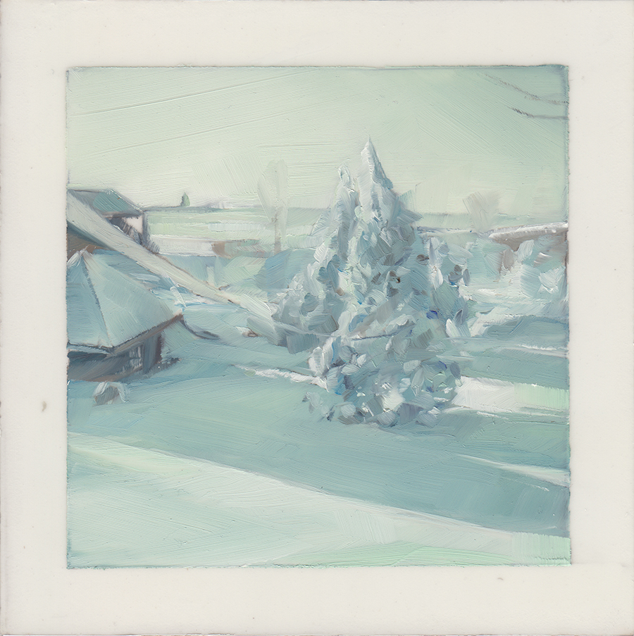 The Morning After A Snow Storm  , 2013   Oil on Mylar on Panel   4 x 4 in.