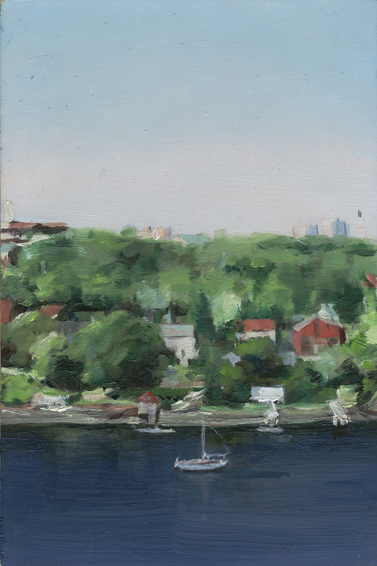 Halifax view  , 2009   Oil on Mylar on Wood   6 x 4 in.