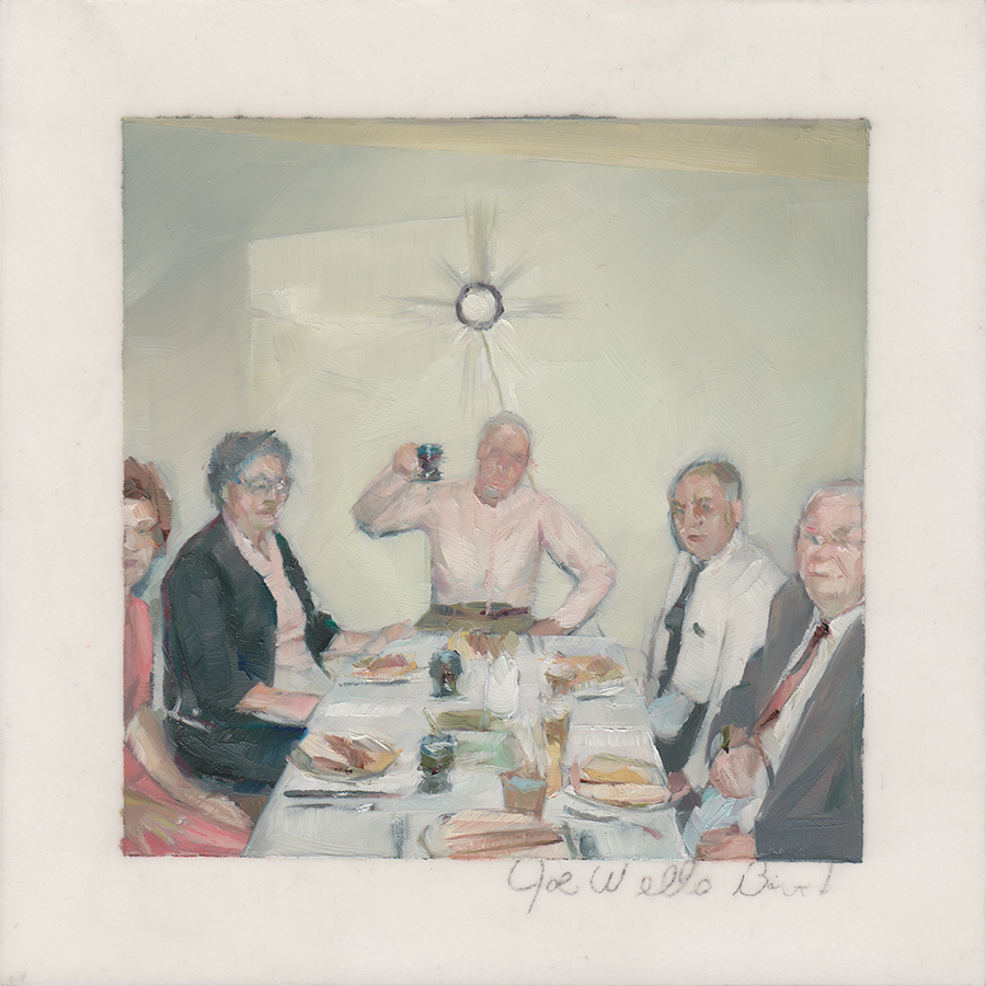 Joe Wells Birthday  , 2012   Oil on Mylar on Panel   4 x 4 in.