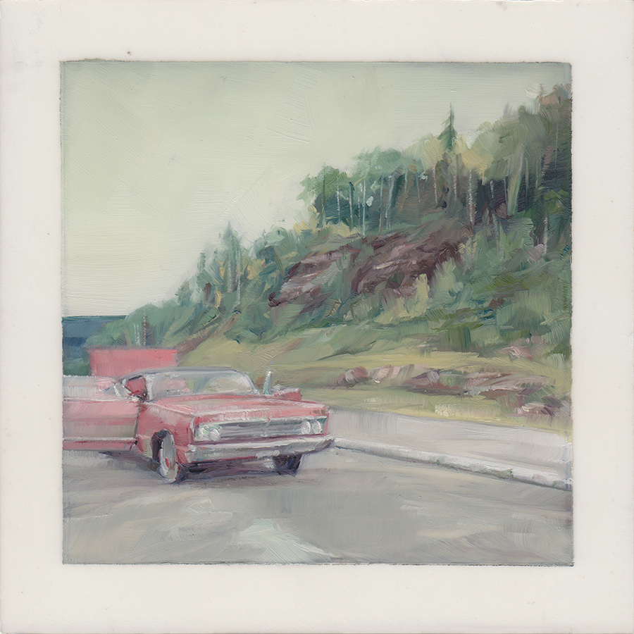 An Uncared For Car  , 2012   Oil on Mylar on Panel   4 x 4 in.