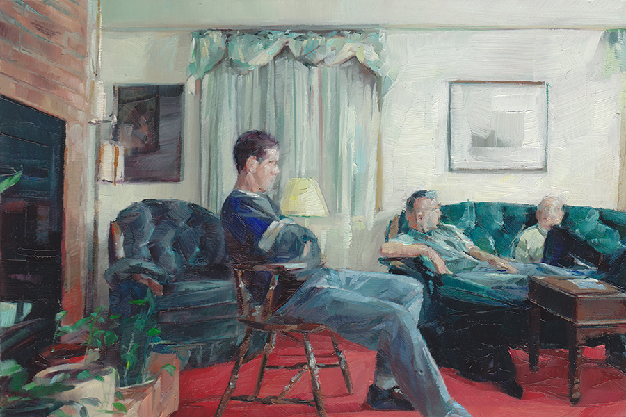 Mike   , Tim and Bryan in the Living Room , 2013   Oil on Mylar on Wood   4 x 6 in.