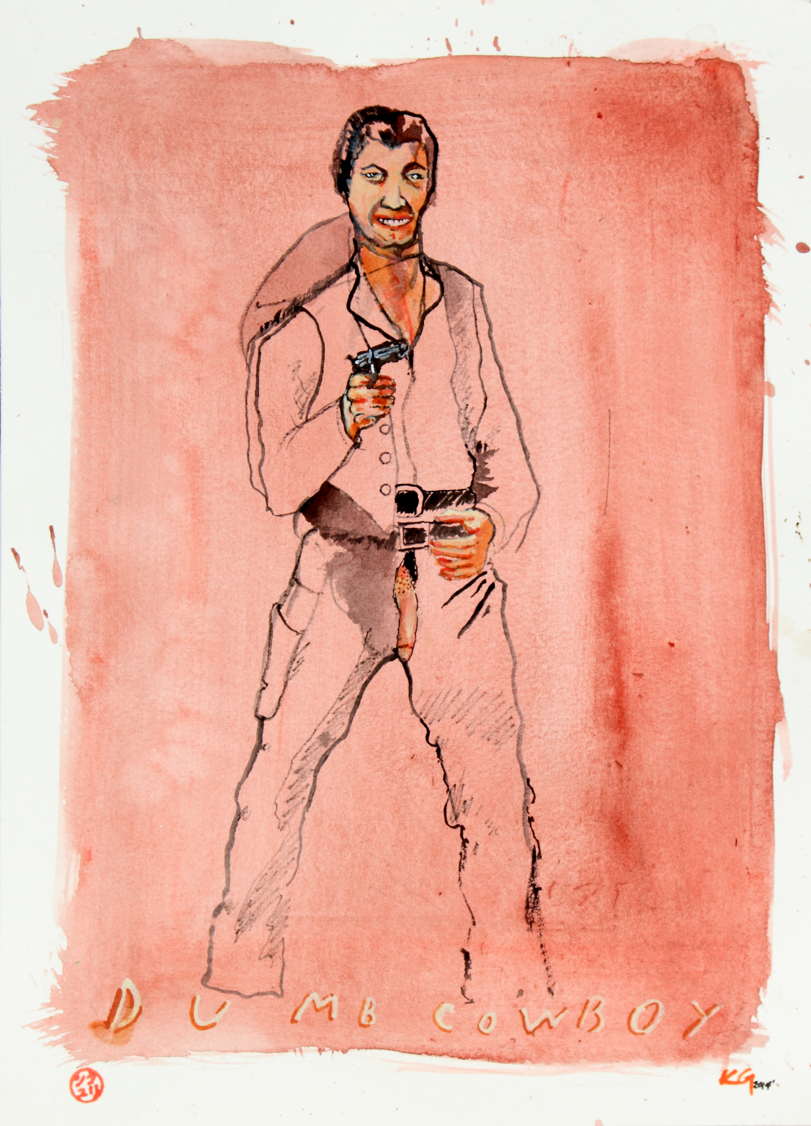 Dumb Cowboy,   2014   Acrylic on paper   9 1/2 x 12 1/2 in.