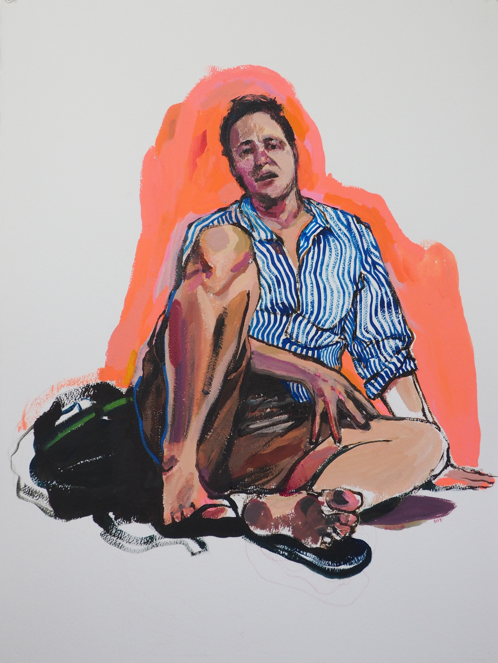 Sitting in Soup  [in response to Alice Neel Drawings and Watercolors 1927-1978, February 19, 2015 - April 18, 2015, David Zwirner Gallery], 2015  Acrylic on Paper 30 x 22 in.