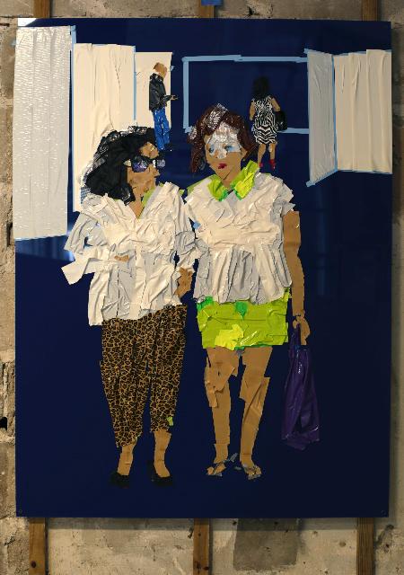 Triptych/Panel 3 ,2013 [private collection Miami Beach, FL]   Tape on Plexi Glass   48 x 36 in.
