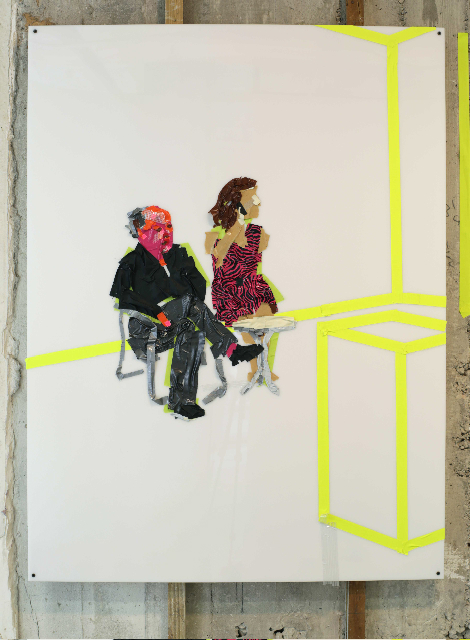 The gallerists , 2013   Tape on Plexi Glass   48 x 36 in.