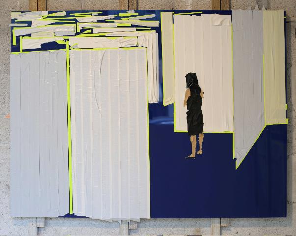 Maze 2 ,2013   Tape on Plexi Glass   36 x 48 in.