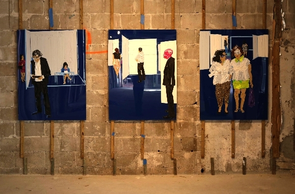 Triptych/Panels 1, 2, 3 , 2013 [  various private collections]   Tape on Plexi Glass   48 x 108 in.