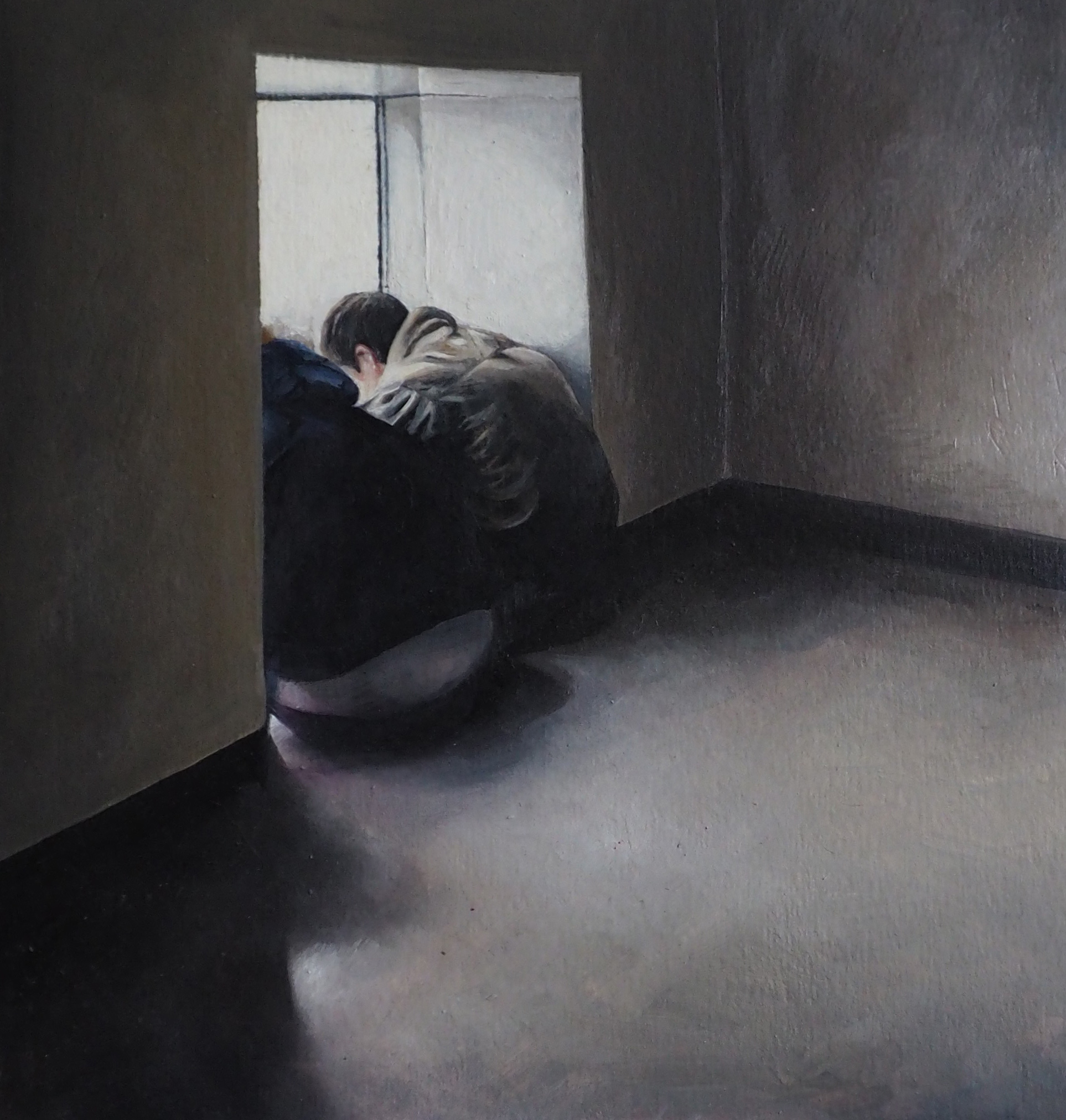 Bask 2.  [in response to AMERICA IS HARD TO SEE (Edward Hopper) May 1, 2015 – September 27, 2015, Whitney Museum of American Art], 2015 [private collection NJ, USA] Oil on Panel 9 x 8 1/2 in.
