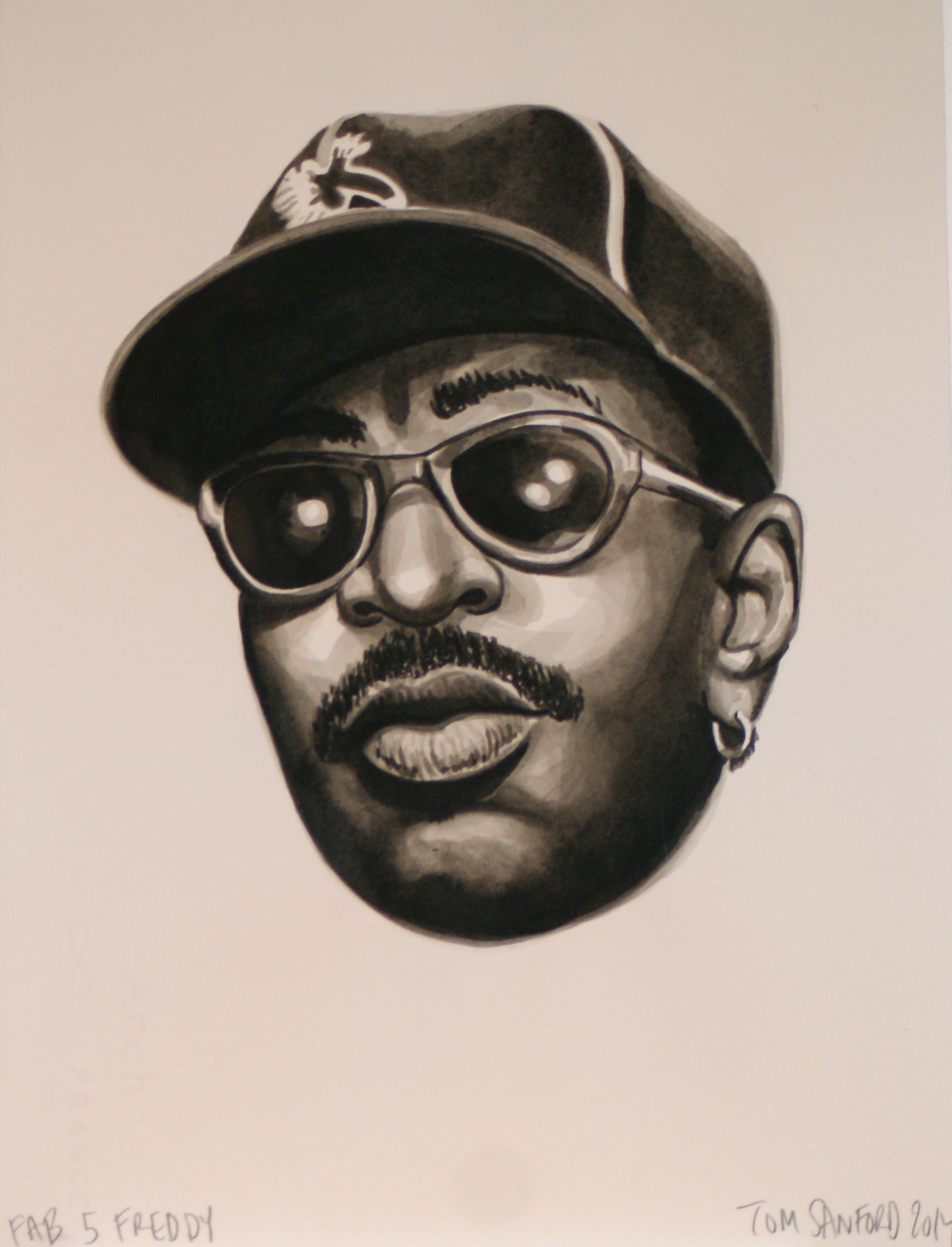 Fab 5 Freddy,  2014 [corporate collection NJ, USA] Ink on Paper 11 x 15 in.