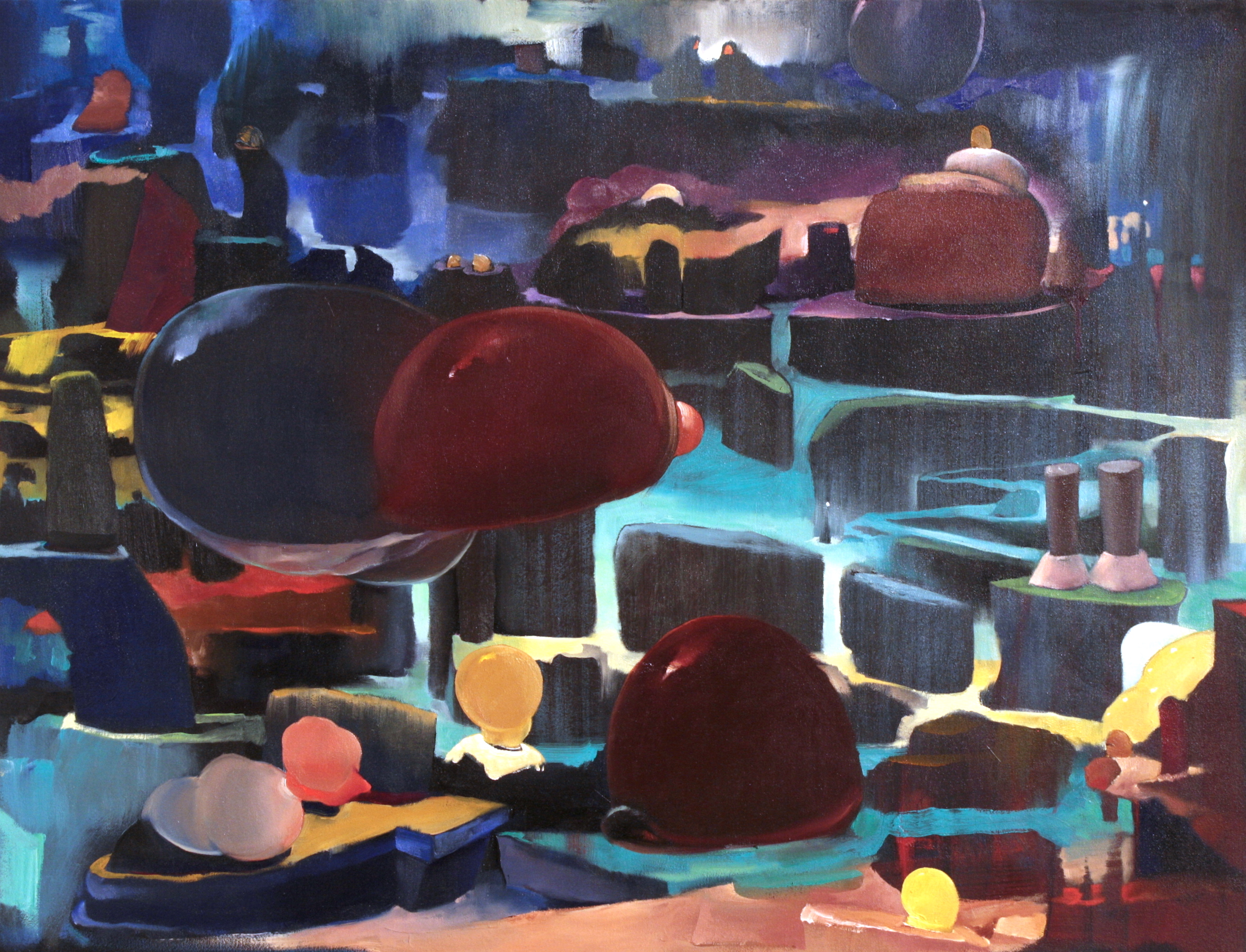 Morphology in Blue and Red   ,  2015   OIl on Canvas   33 x 43 in.