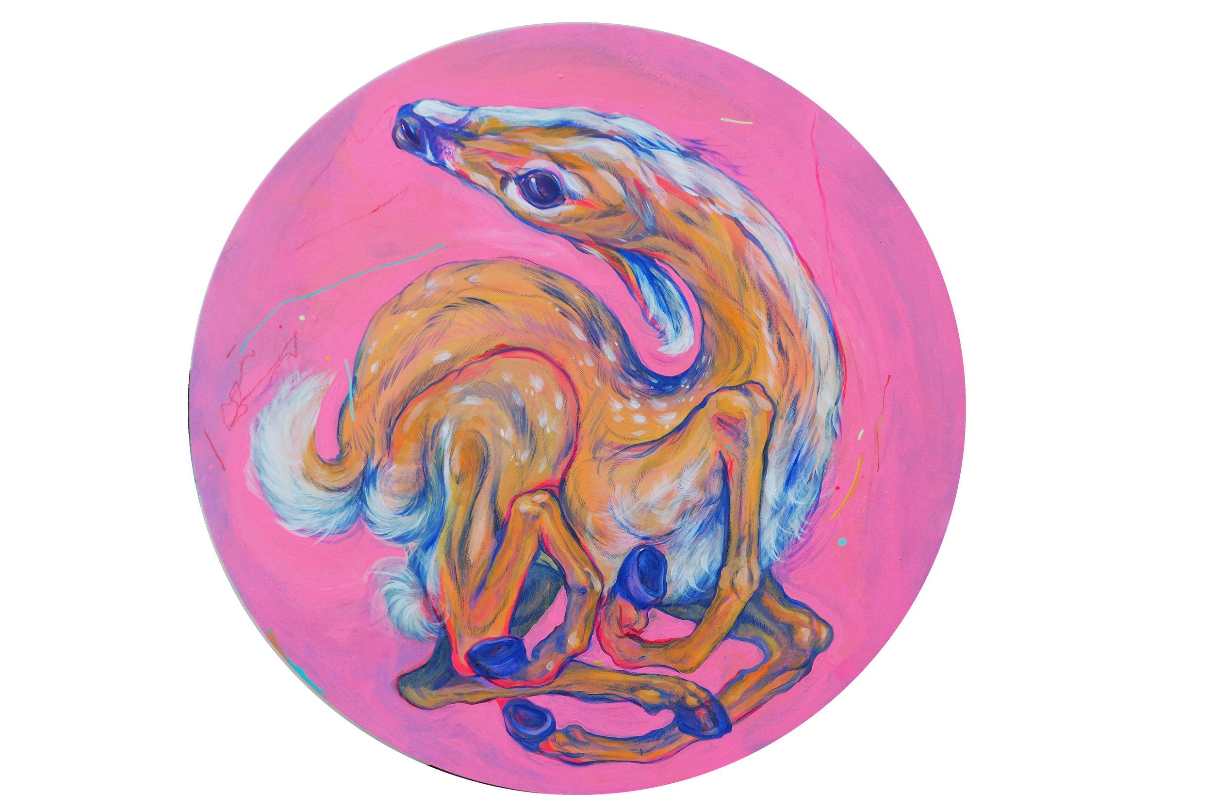 Lightest Dancer , 2016  Acrylic on Panel  24 in. diam.