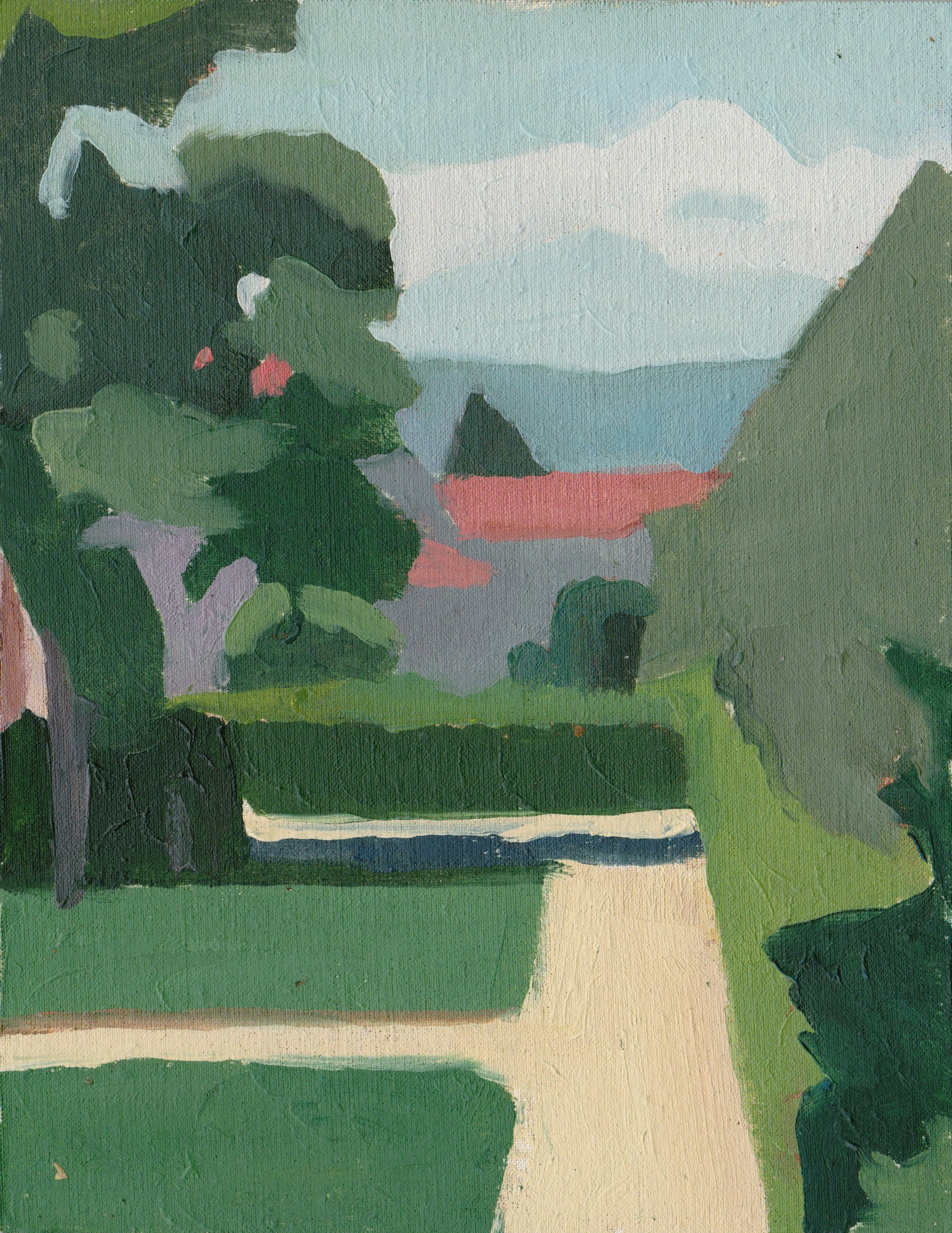 View of boboli gardens , 2015 Oil on Panel 7.5 x 5.75 in.