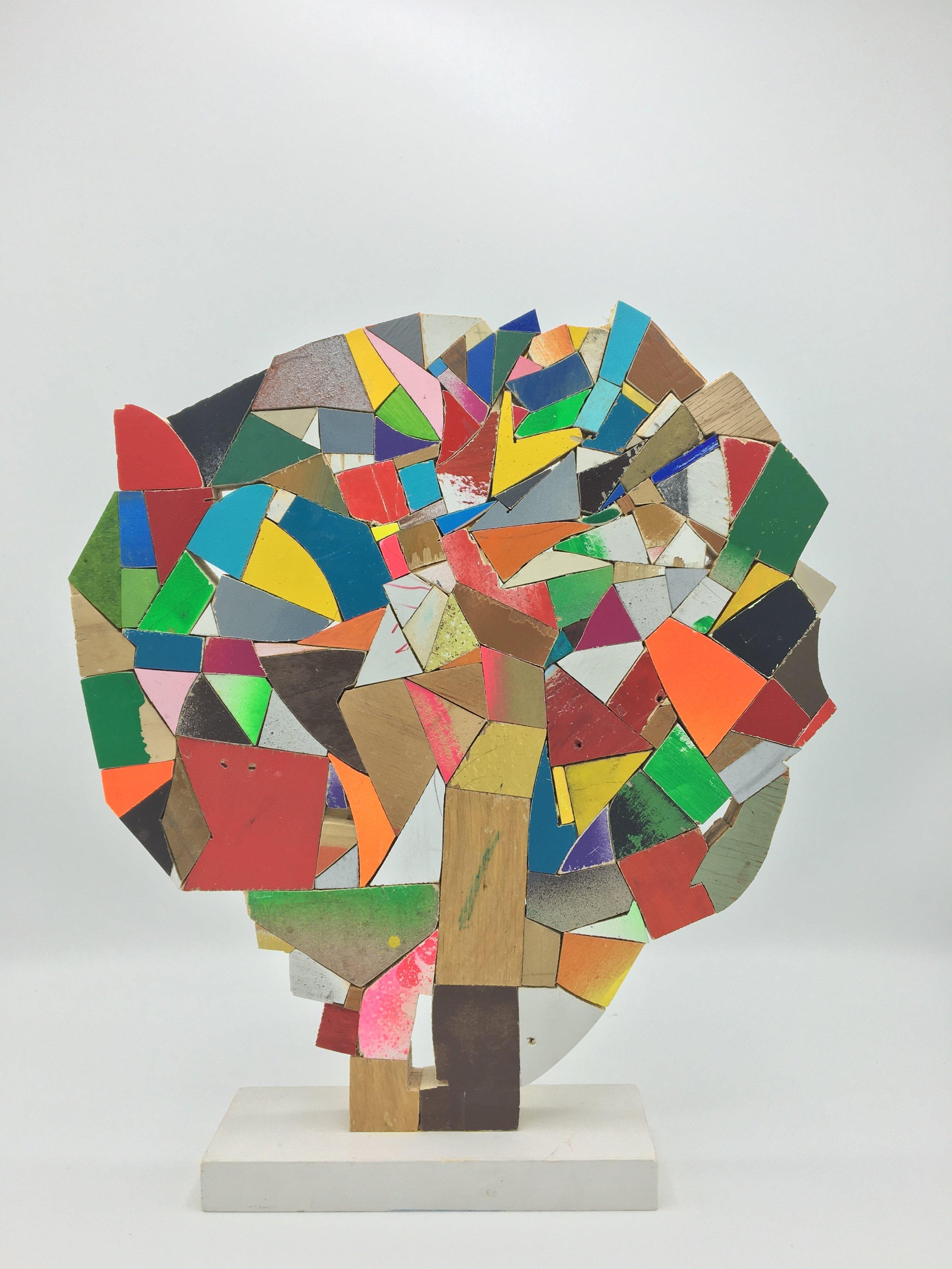 Damien Hoar de Galvan | Brain | 2016 | Wood, Paint, Colored Pencil, Glue | 13 x 11 x 2 in.