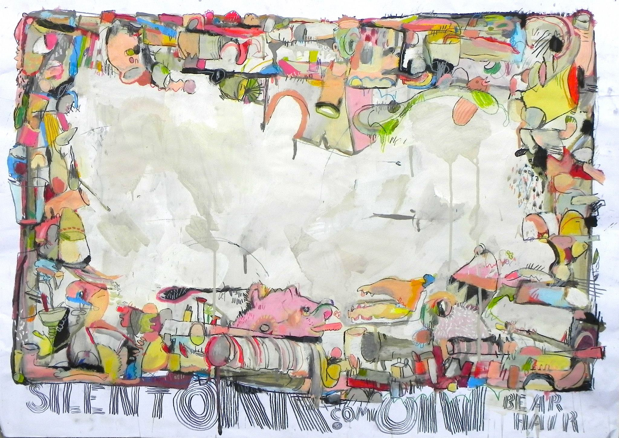 Kristian Glynn | Silent Om.Com On Bear Hair | 2013 | Acrylic on Paper | 23 1⁄2 x 33 in. (unframed)