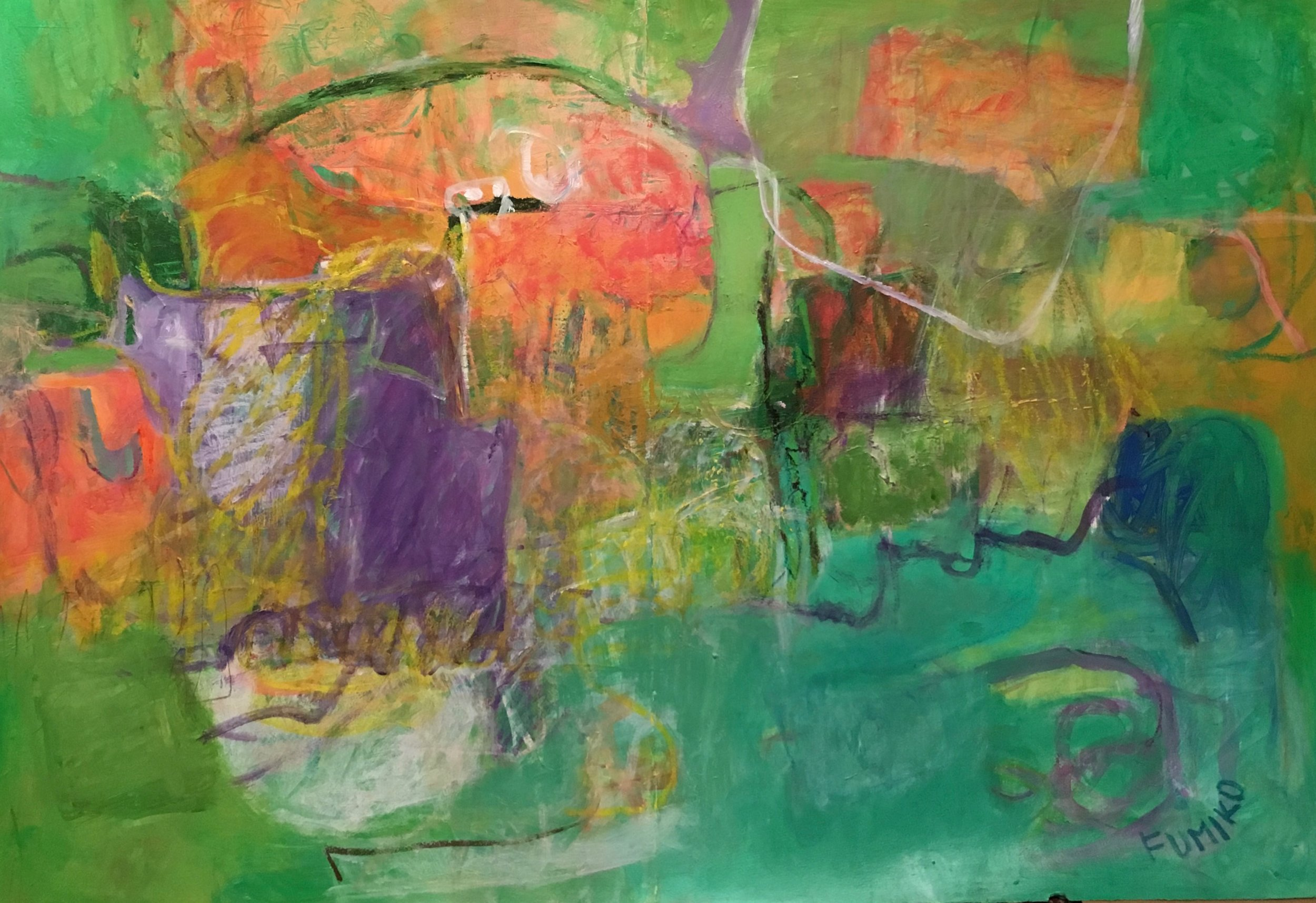 Fumiko Kashiwagi | Untitled 2015 | acrylic and oil pastel on paper | 29.75 x 43.5 in. unframed