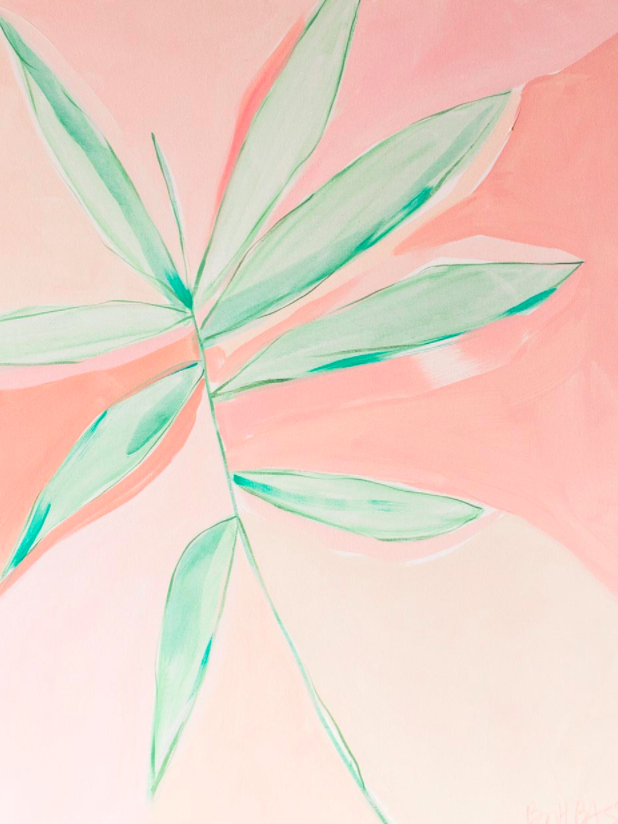 "Britt Bass Turner Pink & Green 2, 2017  40"" × 30"" Acrylic on canvas"