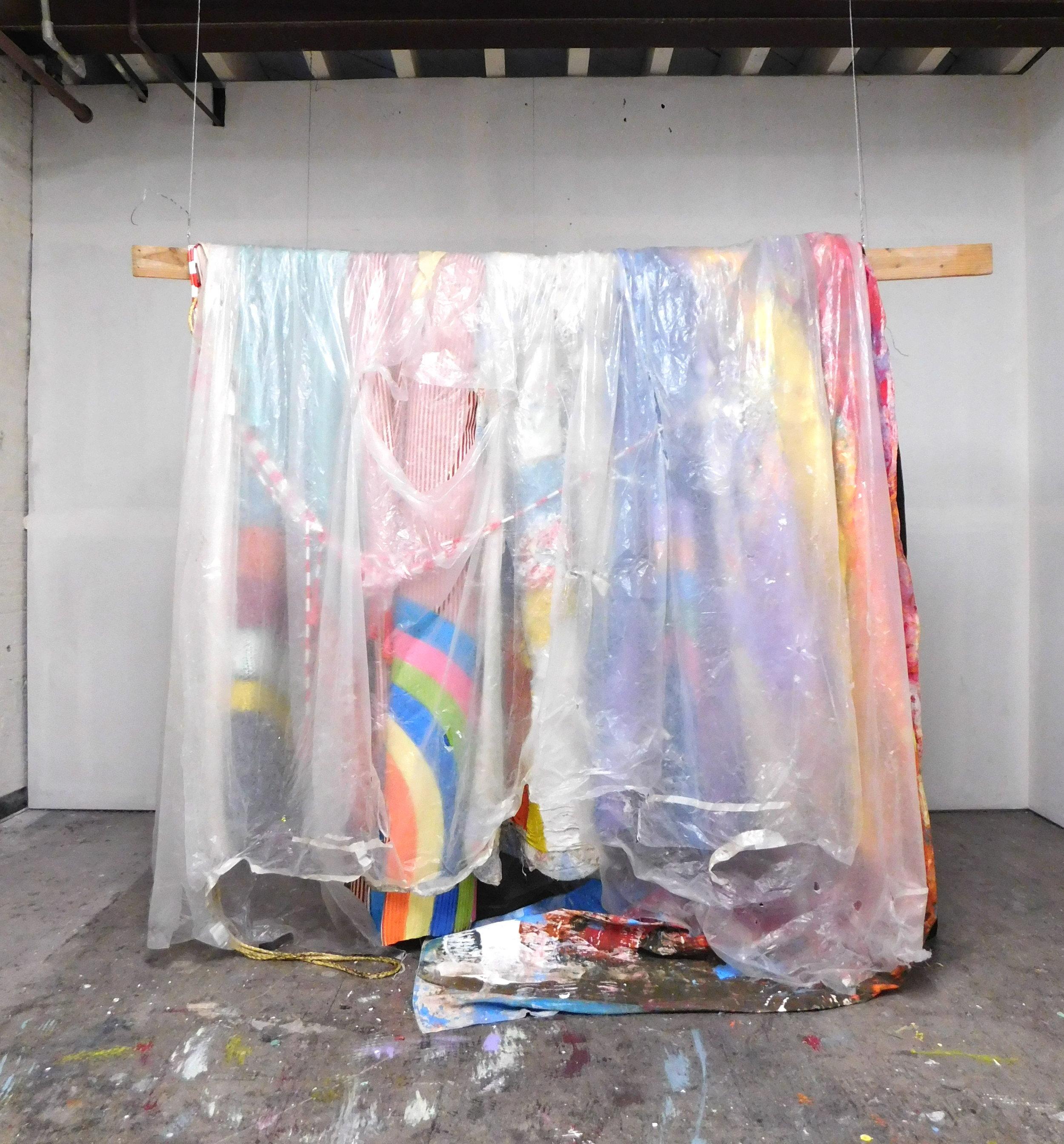 Untitled VIIII 76''x16''x72'' Rope, Tarp, Table Cloth, Acrylic, Canvas, Bed Sheet 2017.JPG