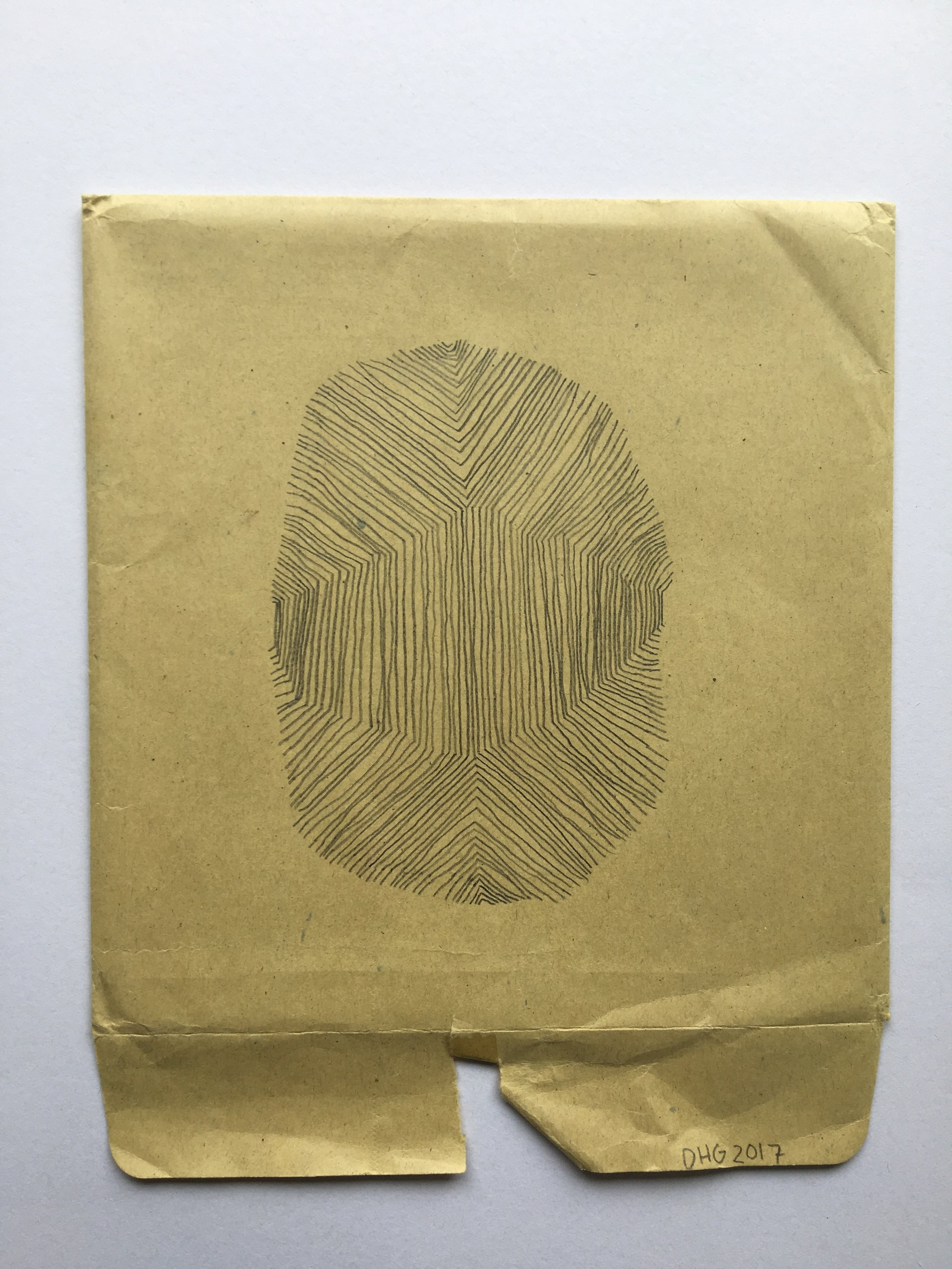 "thumbprint, 2017, 8"" x 6"" (11 ½ x 10 in. framed) pencil on envelope $600"