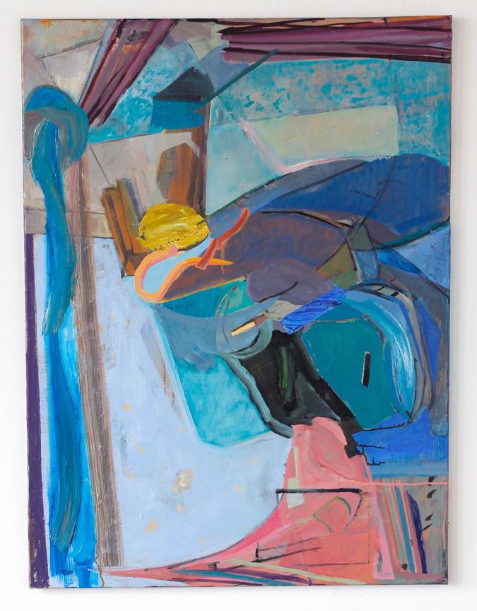 """Waiting Room, 2017, oil on linen, 40"""" x 30"""" $2,600"""