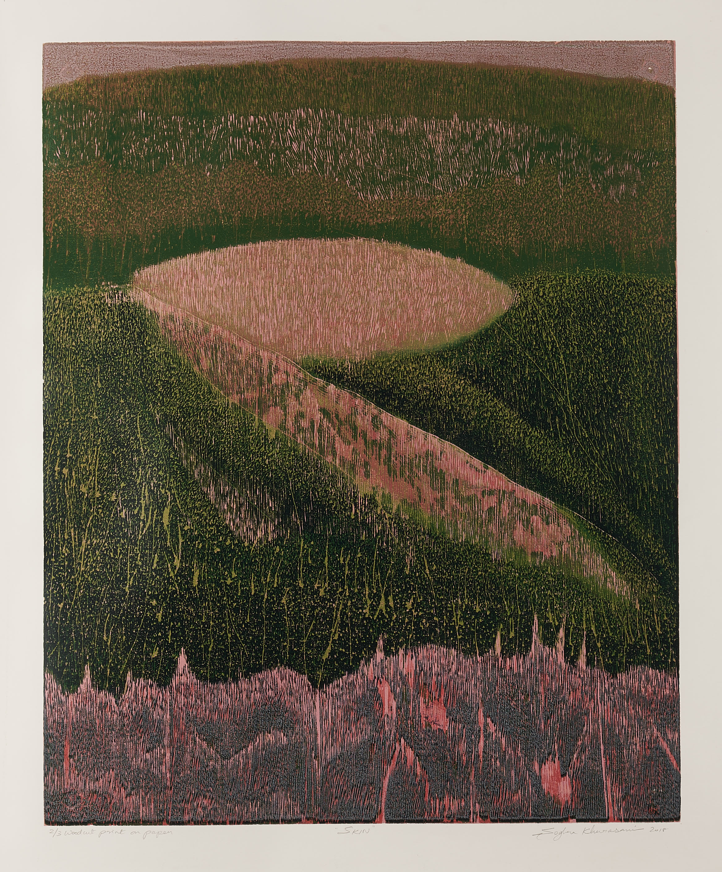 Skin 8, 2018, woodcut, image size: 24 x 19.5 in. [61 x 49.5 cms] $1,400 (unframed)