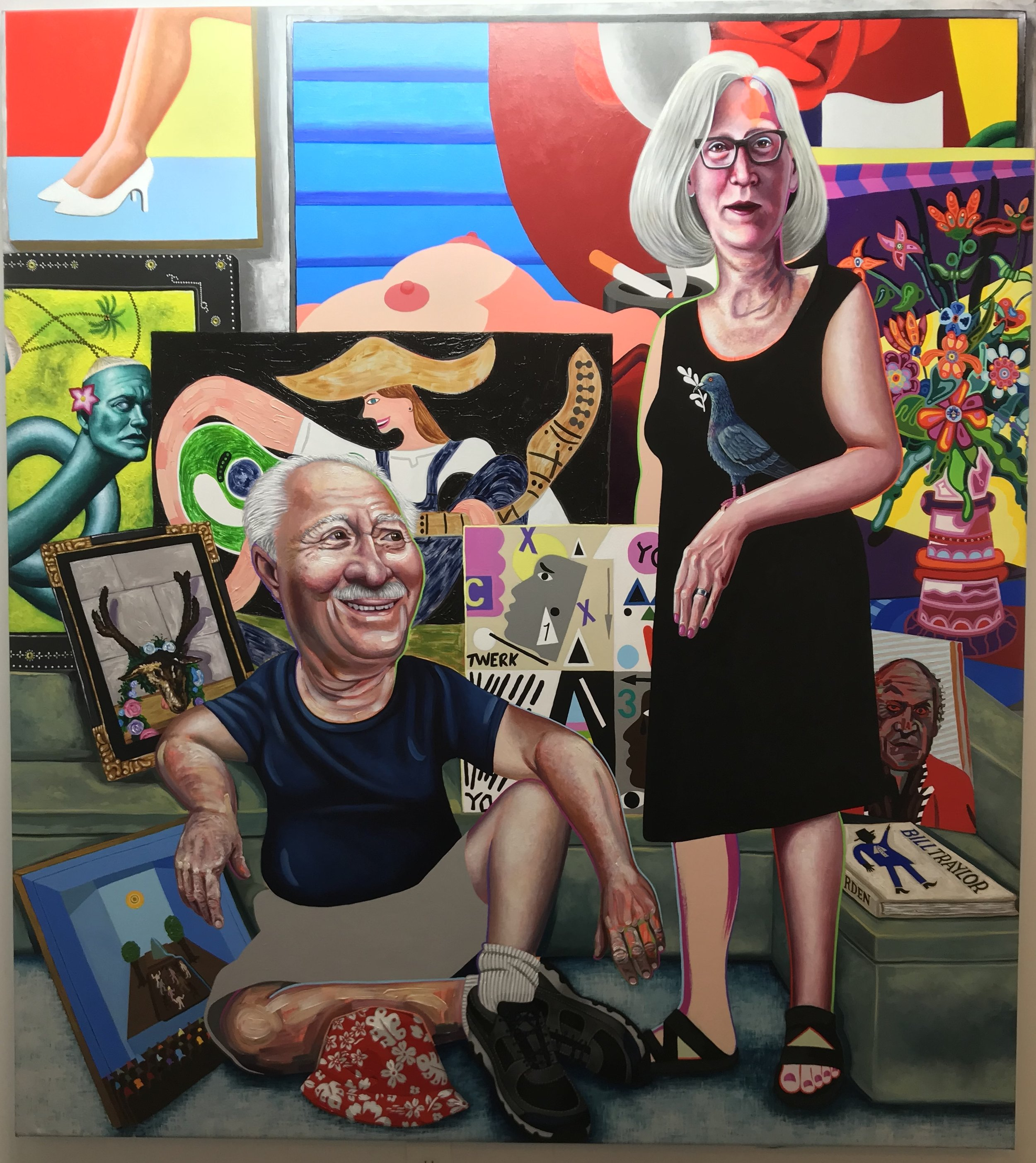 Portrait of Hubert and Debra , 2018 70 x 78 inches Acrylic on Canvas