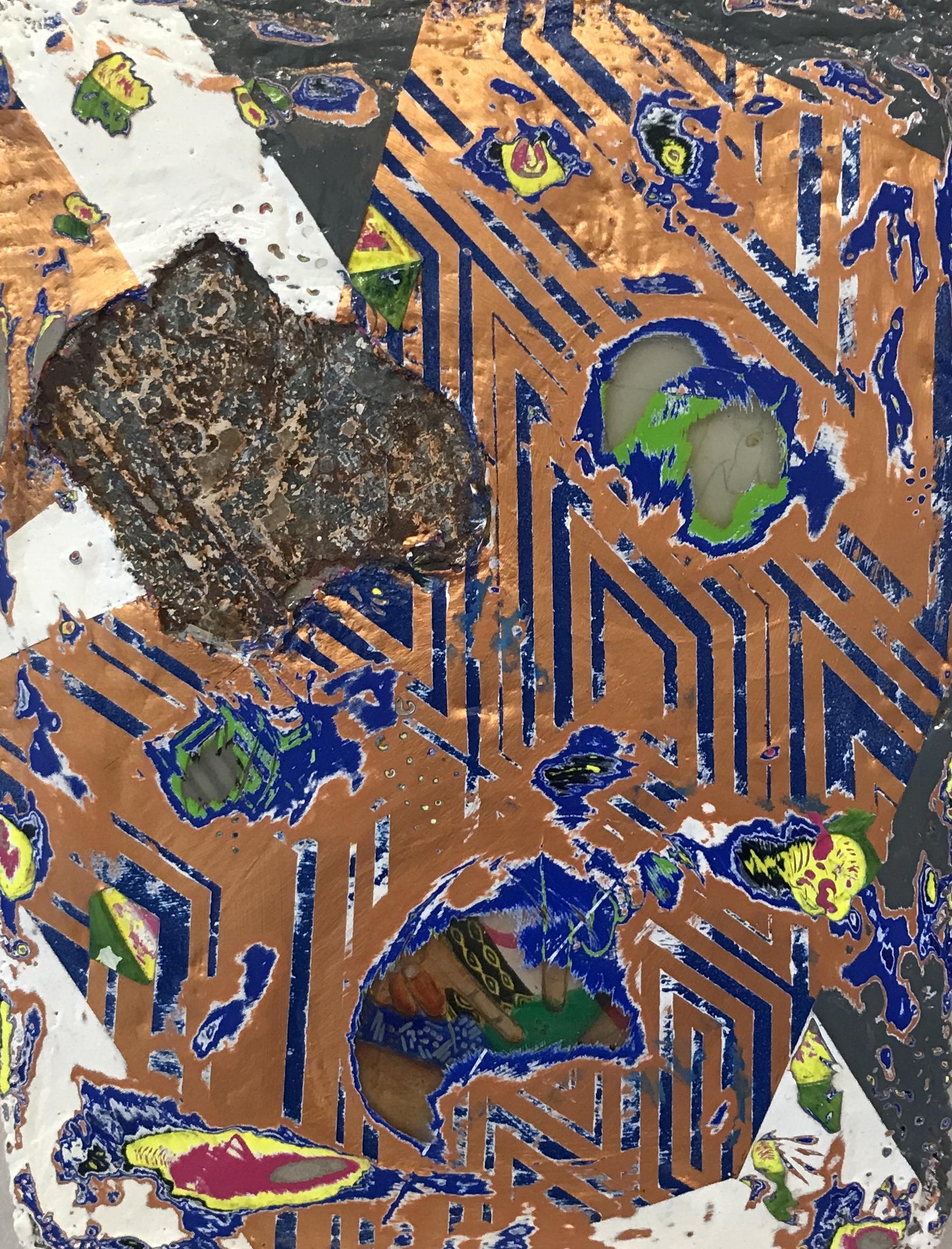 Duhirwe Rushemeza, Untitled, 2018 14 x 17 x 2 in.  Thin-set Mortar, Resin, collage, acrylic and metal detritus on wood