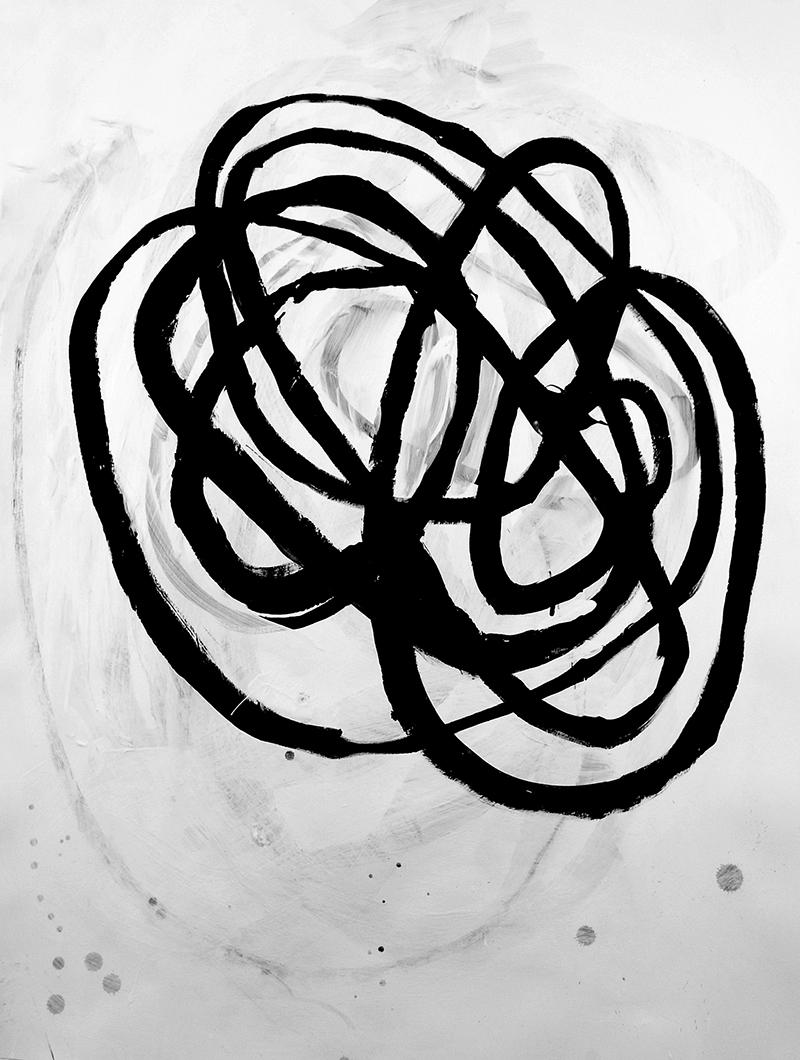 "Return, 2017, 30"" x 22"" acrylic on paper"