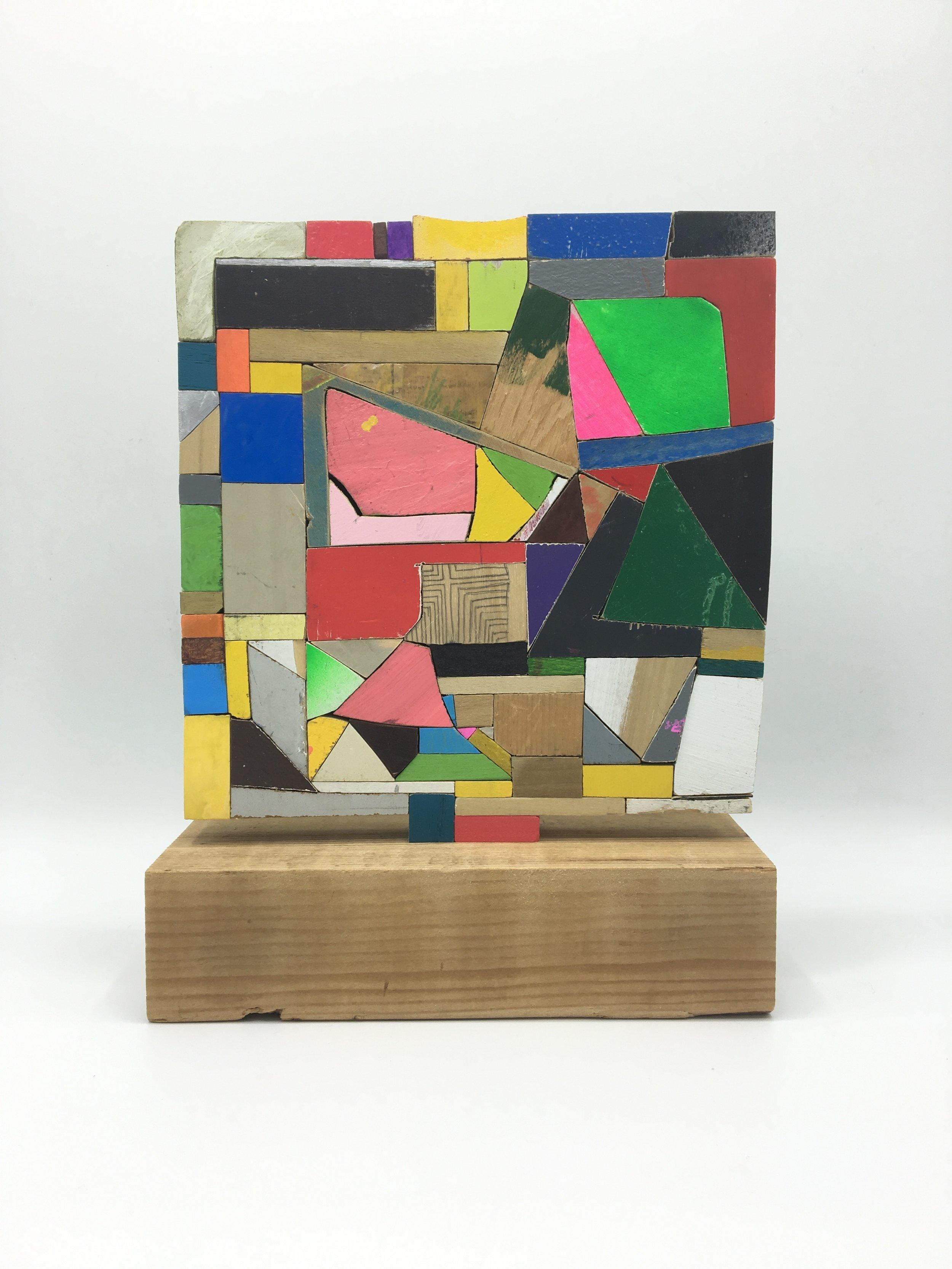 """patch, 2017, 9"""" x 7"""" x 2.5"""" wood, paint, glue, $1,200"""
