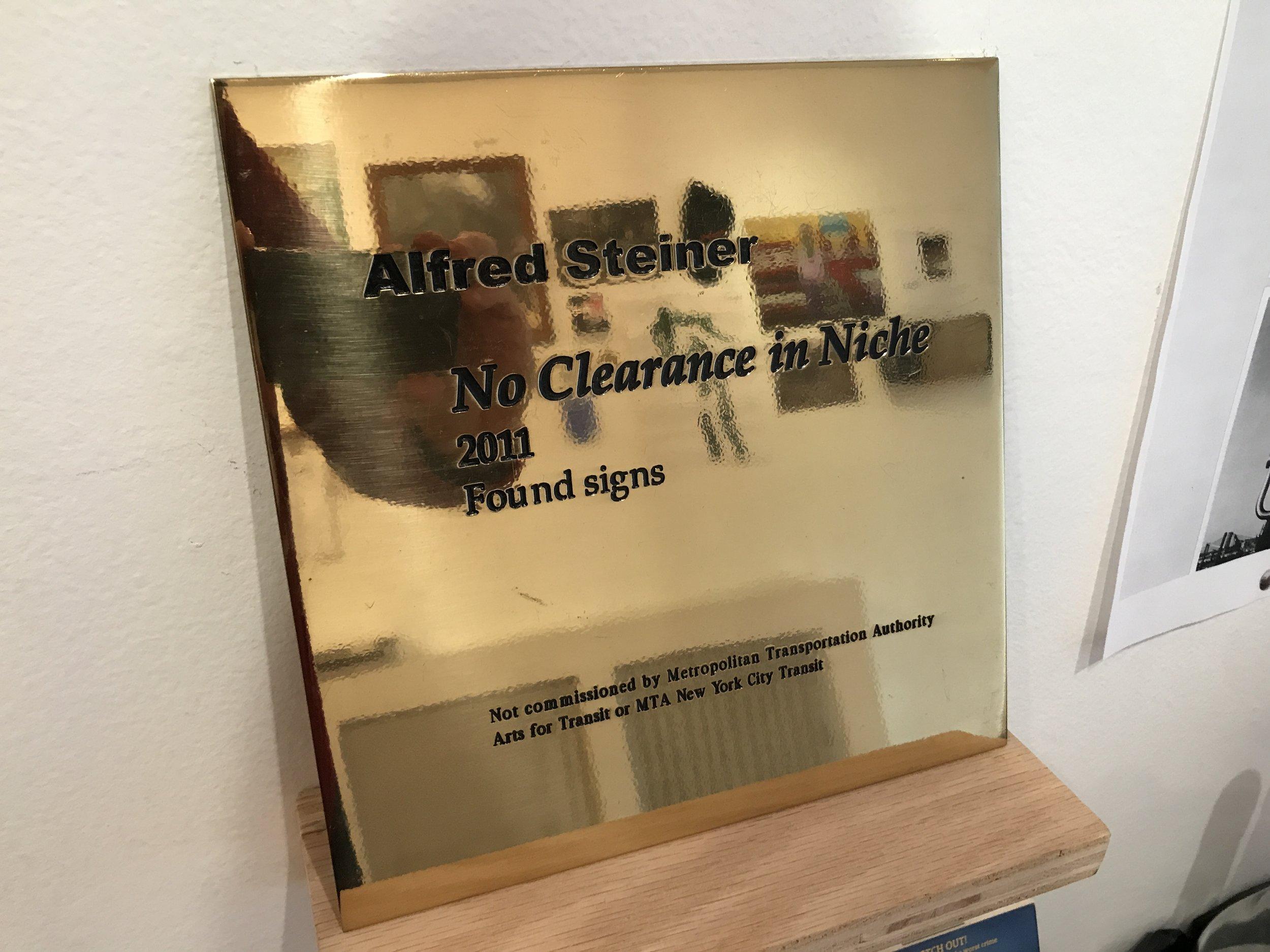 Custom Brass Plaque (Alfred Steiner, Artist)