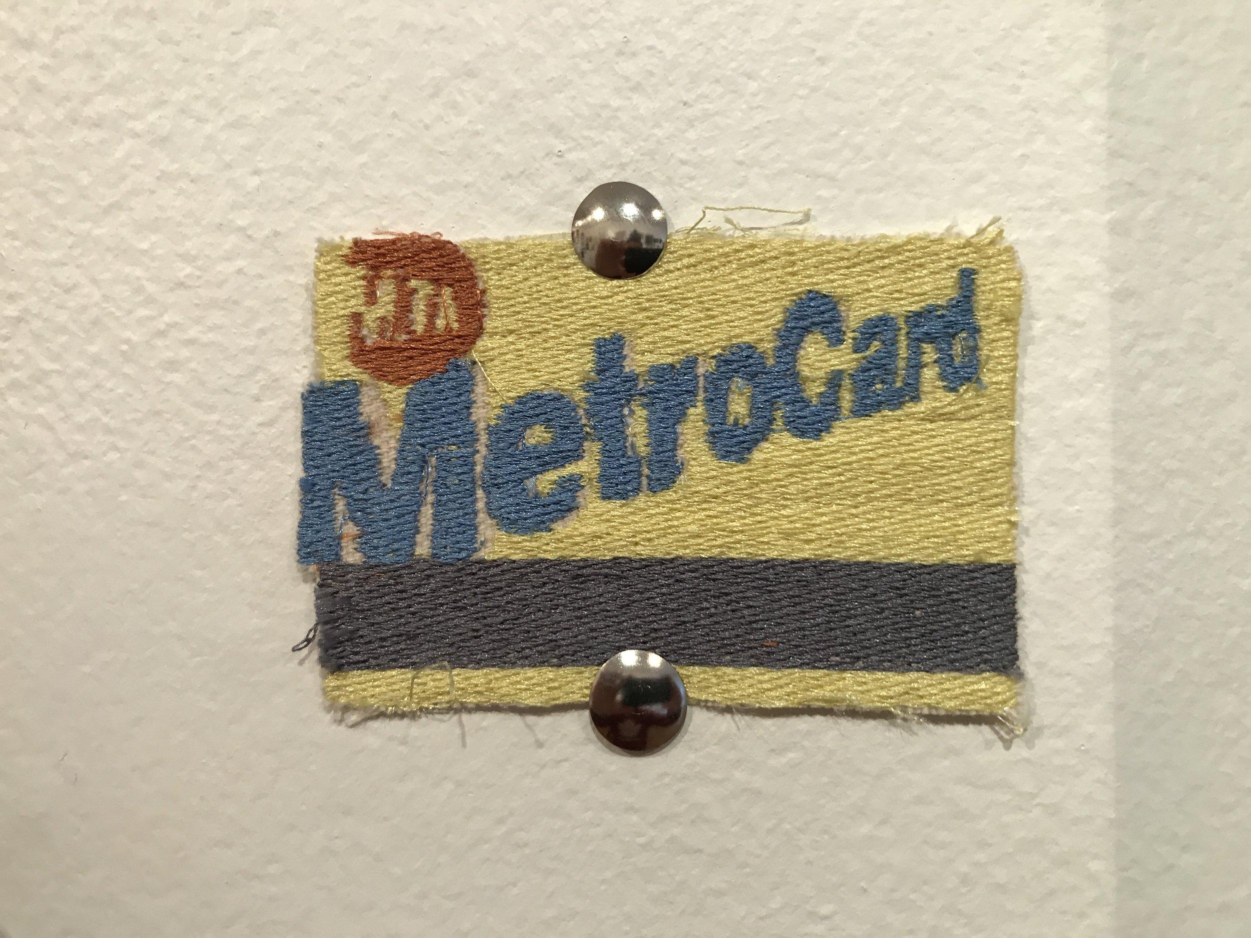 Embroidered Metrocard (Hazal Kelleci, Artist/Art Teacher)