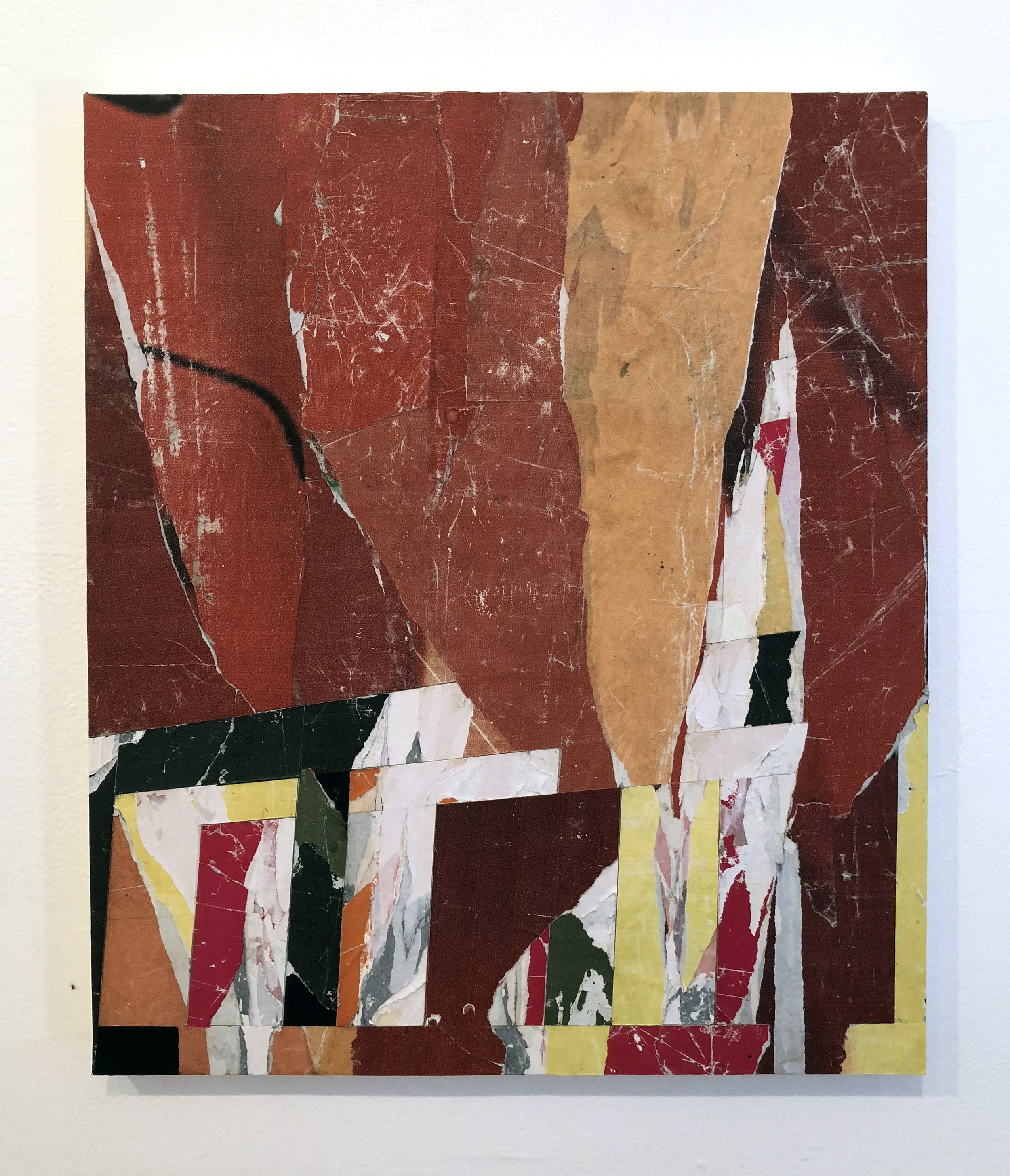Untitled #R5, 2018, 20 x 16 in. Collage of found posters on wood panel SOLD