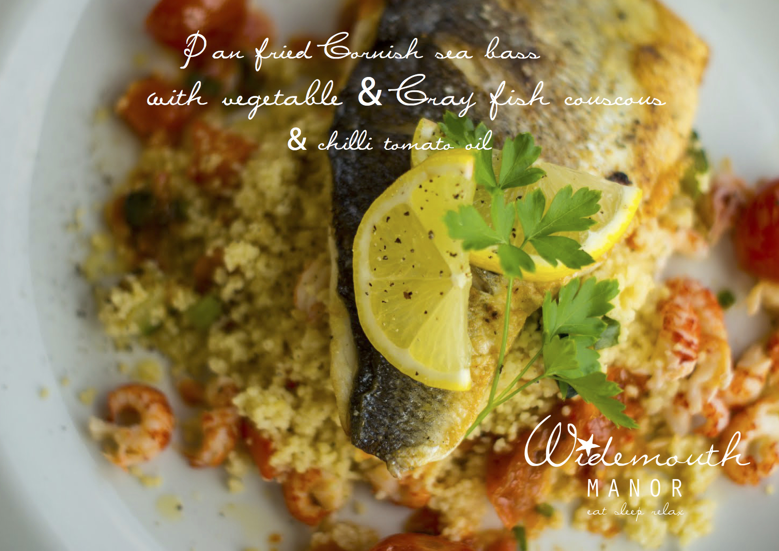 F Widemouth Manor postcard overhead view pan fried sea bass .jpg