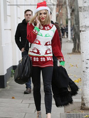 Fern Cotton out and about in her Christmas themed jumper.