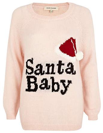 River Island pink Santa Baby jumper - http://www.riverisland.com/women/knitwear/jumpers/Pink-Santa-Baby-knit-jumper-646240