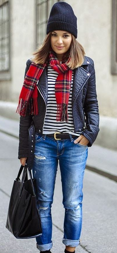 Style your biker jacket with boyfried jeans, a stripey tee and a over-sized scarf