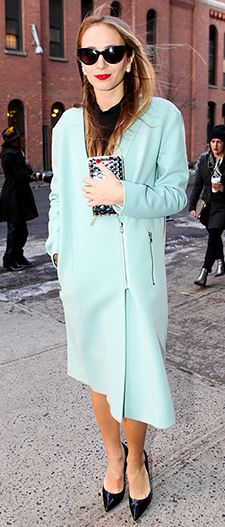 Blogger at London Fashion week styling her mint coat with black heel's and a metallic bag
