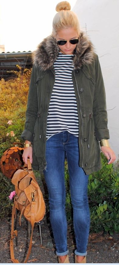 Styling with a stripe tee, skinny jeans and tan ankle boots