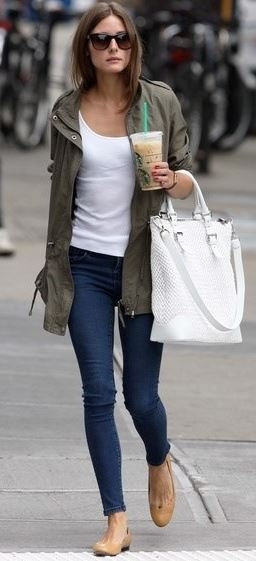 Olivia Palmero wearing a basic white tee with her lightweight parka