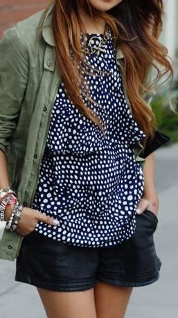 Khaki jackets look great styled with prints and leather shorts