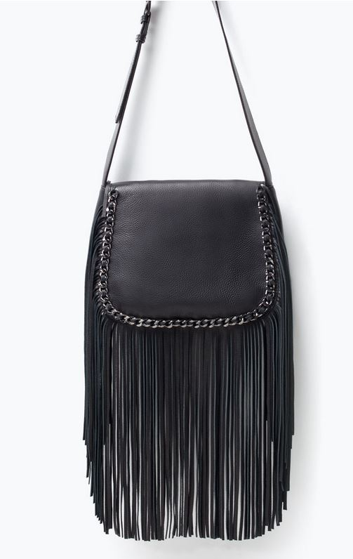 fringe lether bag