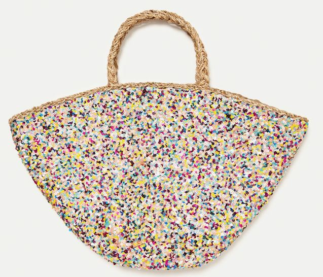 Sequinned jute basket bag, Zara £49.99