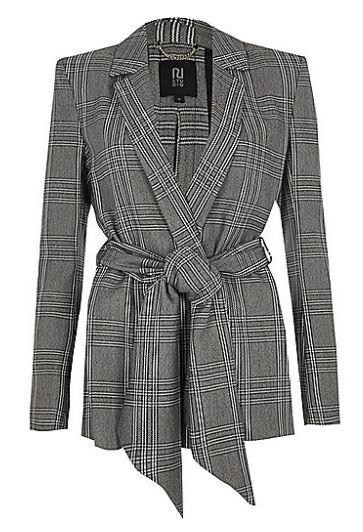Check tie wrap blazer - River Island £75.00