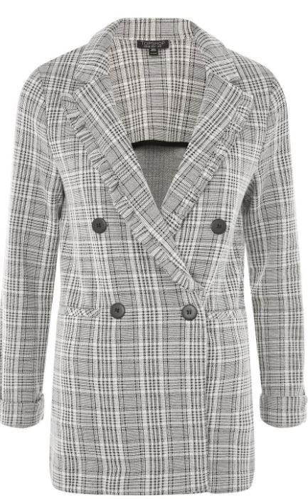 Check jersey frill jacket - Topshop £39.00