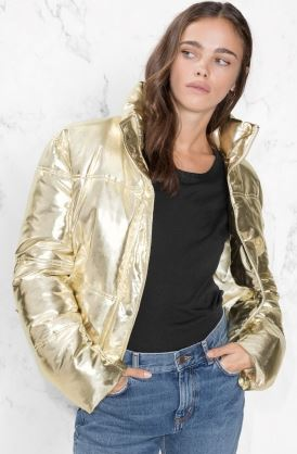 Metallic gold puffer jacket, &other stories, £125.00