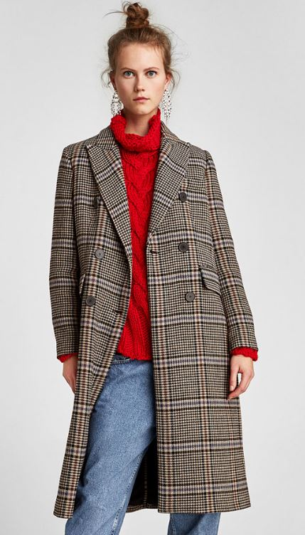 Over-sized check coat, Zara, £159.00