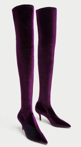 Velvet over the knee boots, Zara, £79.99