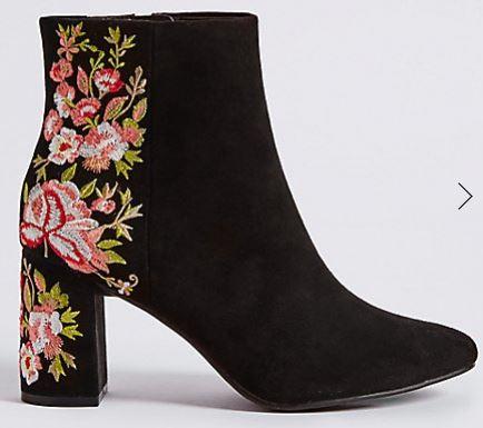 Block heel embroidered boot, Marks & Spencer £49.50
